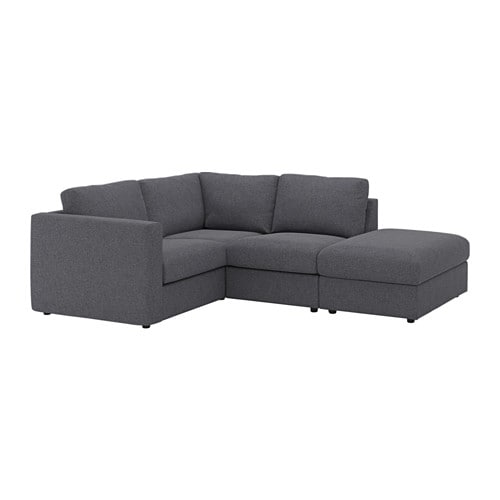 vimle sectional 3 seat corner with open end gunnared medium gray ikea. Black Bedroom Furniture Sets. Home Design Ideas