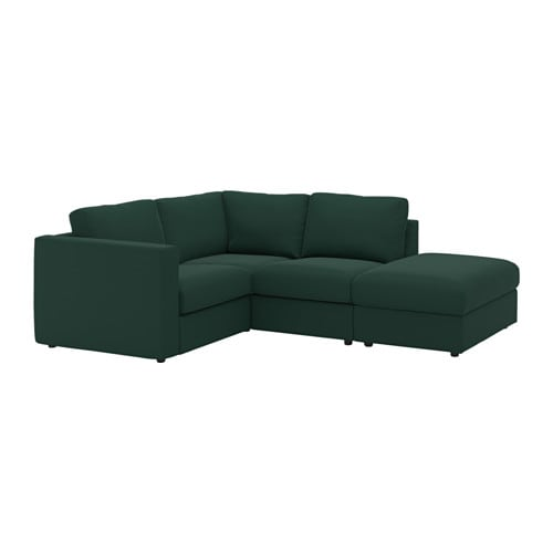 Vimle sectional 3 seat corner with open end gunnared dark green ikea - Housse canape angle ikea ...