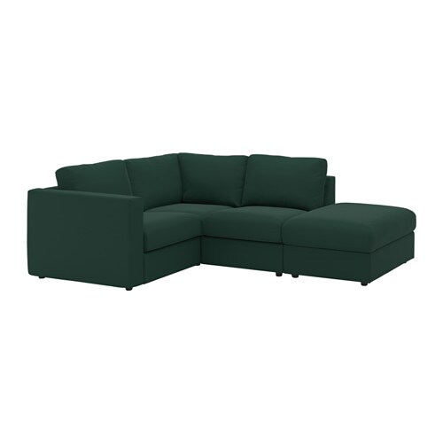VIMLE Sectional, 3-seat corner, with open end, Gunnared dark green with open end/Gunnared dark green