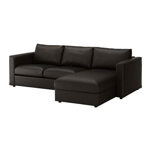 Vimle sofa with chaise farsta black ikea for Black sofa with chaise