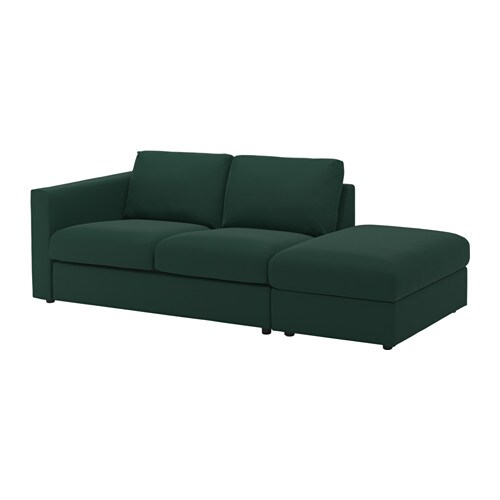 vimle sofa  open endgunnared dark green ikea