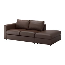 VIMLE sofa, with open end, Farsta dark brown