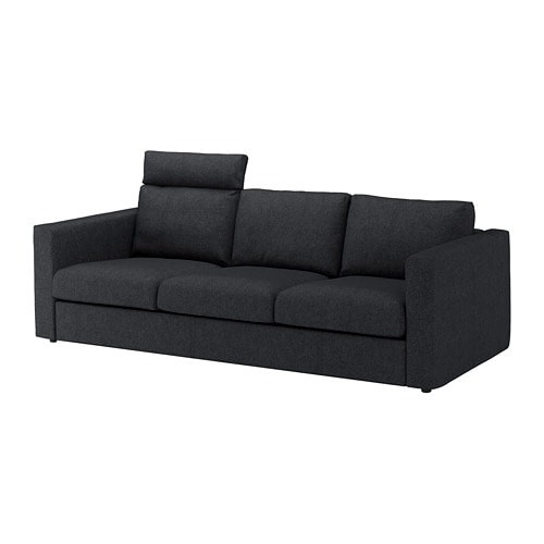 vimle sofa with headrest tallmyra black gray ikea. Black Bedroom Furniture Sets. Home Design Ideas