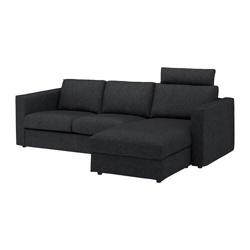 VIMLE - Sofa, with chaise with headrest, Tallmyra black/gray