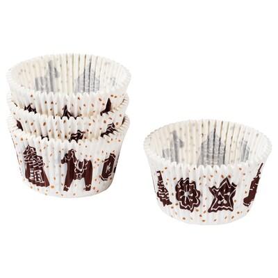 VINTER 2020 Baking cup, paper, gingerbread pattern white/brown