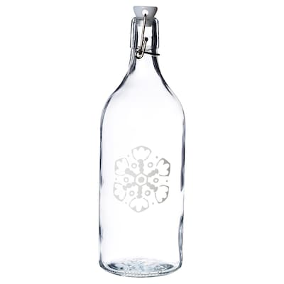 VINTER 2020 Bottle with stopper, clear glass/snowflake pattern white, 34 oz