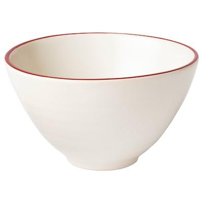"""VINTER 2020 Bowl, handmade white/red, 4 """""""