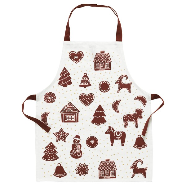 VINTER 2020 Children's apron, gingerbread pattern white/brown, 4-7