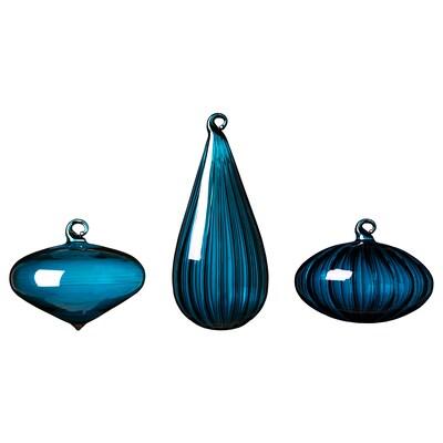 VINTER 2020 Decoration ball, set of 3, assorted shapes/glass blue
