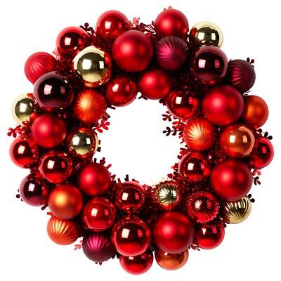 VINTER 2020 Decoration, wreath, red/gold, 15 ""