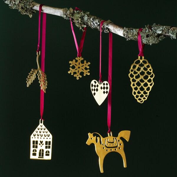 VINTER 2020 Hanging ornaments, set of 6, gold