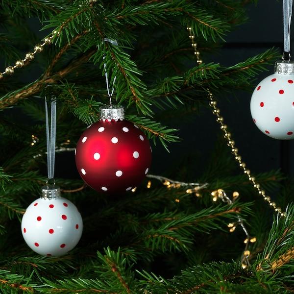 """VINTER 2020 Ornament, glass white/red, 2 """""""