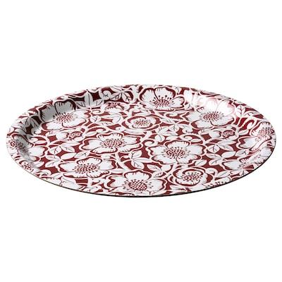 "VINTER 2020 Tray, Christmas rose pattern red/white, 13 """