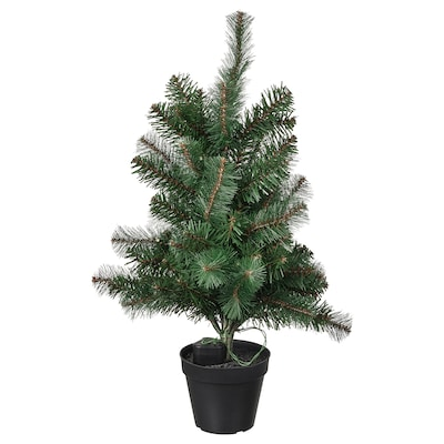 """VINTER 2021 Artificial potted plant+LED lights, battery operated/christmas tree green, 4 ¾ """""""