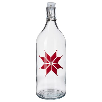 VINTER 2021 Bottle with stopper, glass/star pattern red, 34 oz