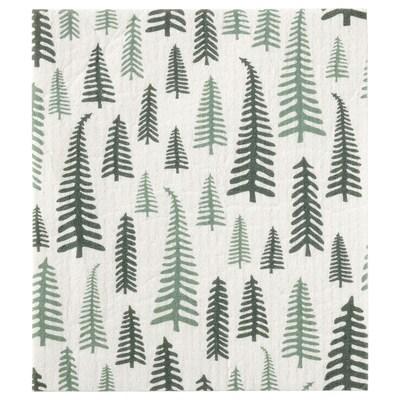 VINTER 2021 Dish cloth, tree pattern white/green