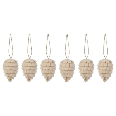"""VINTER 2021 Hanging decoration, cone off-white, 2 ¾ """""""