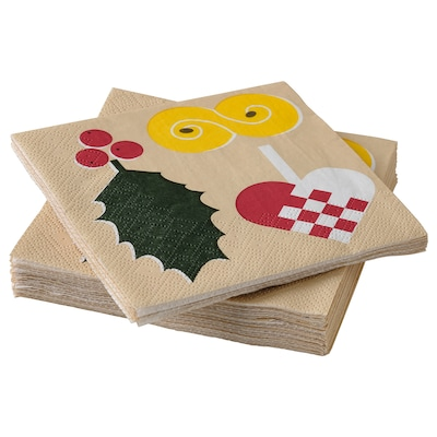 "VINTER 2021 Paper napkin, Christmas pattern multicolor, 9 ½x9 ½ """