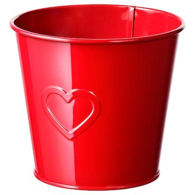 "VINTER 2021 Plant pot, heart-pattern red, 4 ¾ """