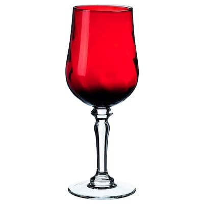 VINTER 2021 Wine glass, handmade clear glass/red, 11 oz