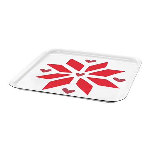VINTER 2017 Tray, white, red