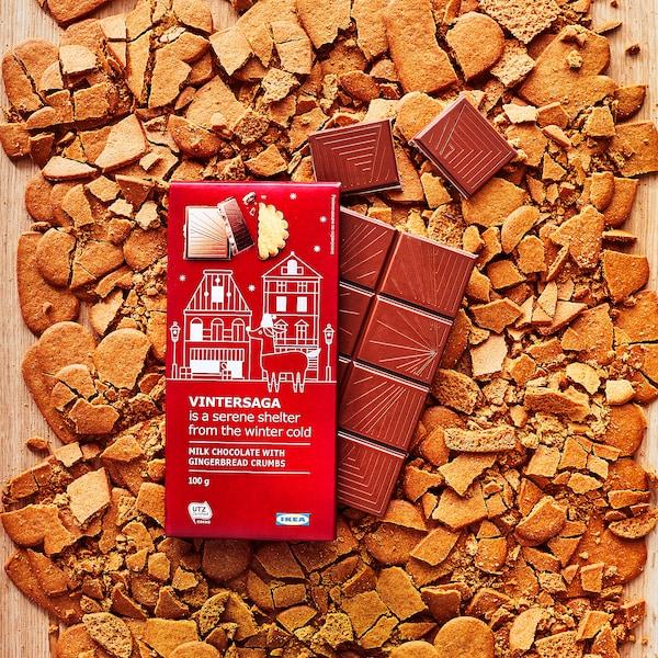 VINTERSAGA Milk chocolate bar, gingerbread crumbs UTZ certified, 4 oz