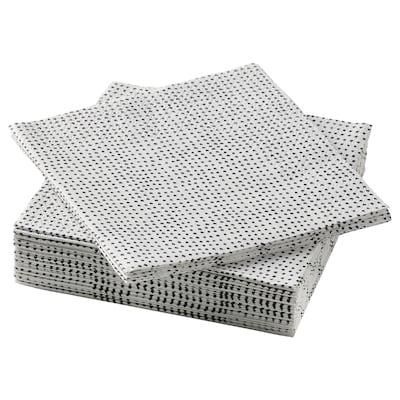 "VINTERSNÖ Paper napkin, dotted/black, 9 ½x9 ½ """