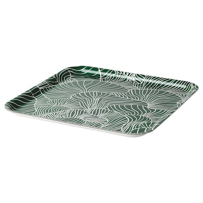 "VINTERSNÖ Tray, patterned/green, 13x13 """