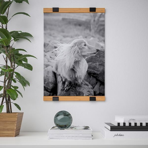 """VISBÄCK Poster hanger, bamboo, 15 3/4 """""""