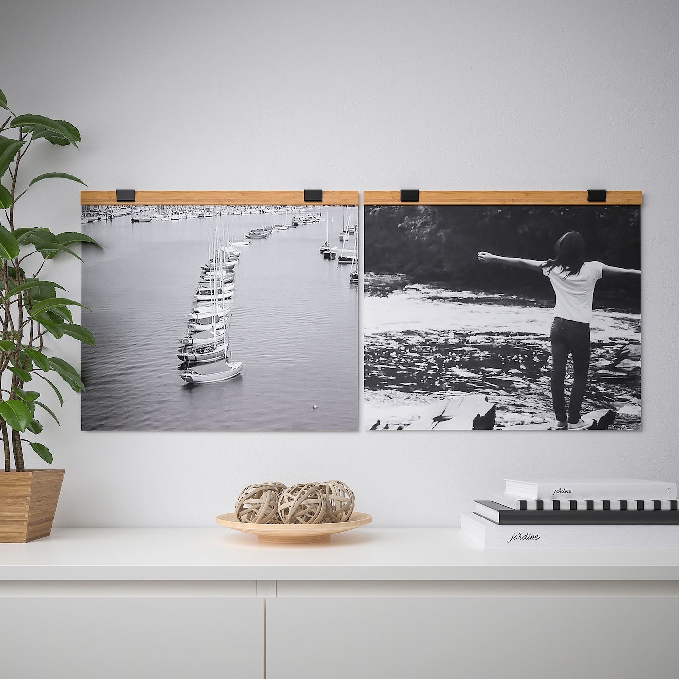 Grey Poster Hanger Set For 24 Inch Posters With Cord