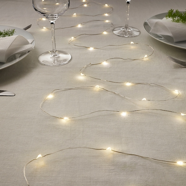 VISSVASS LED string light with 40 lights, indoor/battery operated silver color