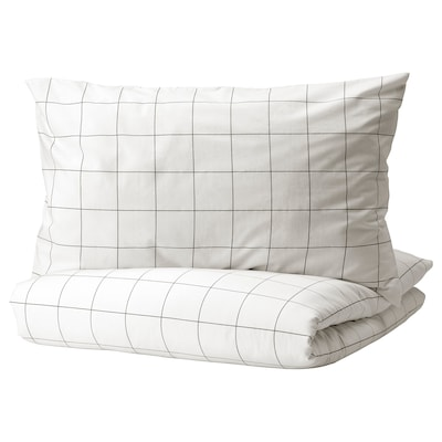 VITKLÖVER Duvet cover and pillowcase(s), white black/check, Full/Queen (Double/Queen)