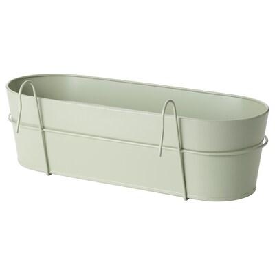 "VITLÖK Flower box with holder, indoor/outdoor light green, 22x7 ¾ """