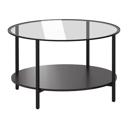 Vittsj coffee table black brown glass ikea for Table extensible ikea bjursta brun noir