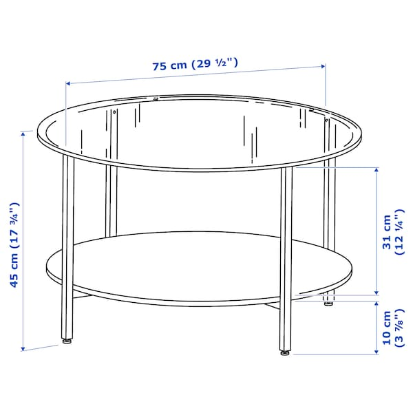 VITTSJÖ Coffee table, black-brown/glass, 29 1/2 ""