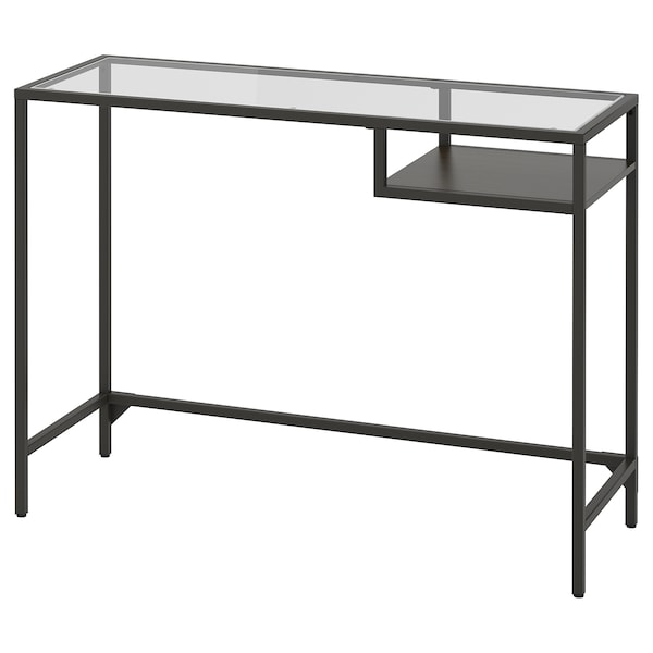 VITTSJÖ Laptop table, black-brown/glass, 39 3/8x14 1/8 ""