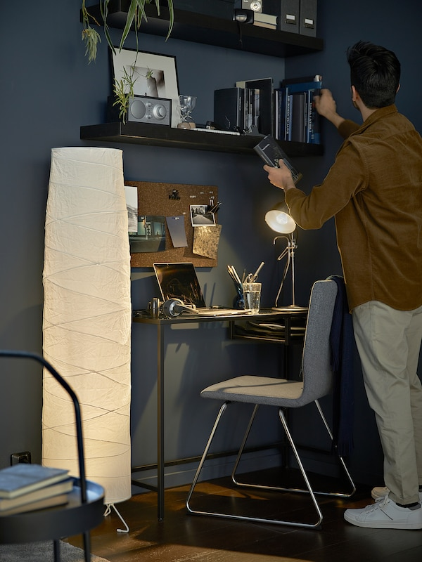 "VITTSJÖ Laptop table, black-brown/glass, 39 3/8x14 1/8 """