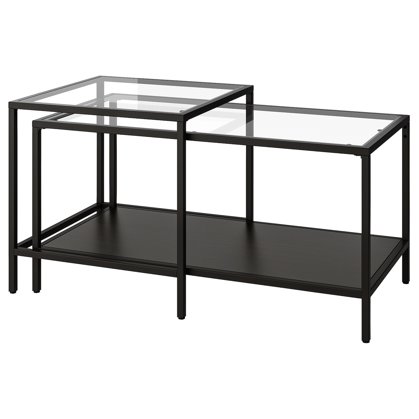- VITTSJÖ Nesting Tables, Set Of 2, Black-brown, Glass, 35 3/8x19 5
