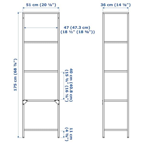 """VITTSJÖ Shelf unit, white/glass, 20 1/8x68 7/8 """""""