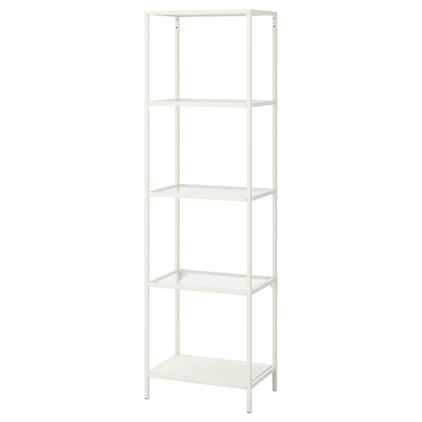 VITTSJÖ Shelf unit   white/glass 20 20/20x620 20/20