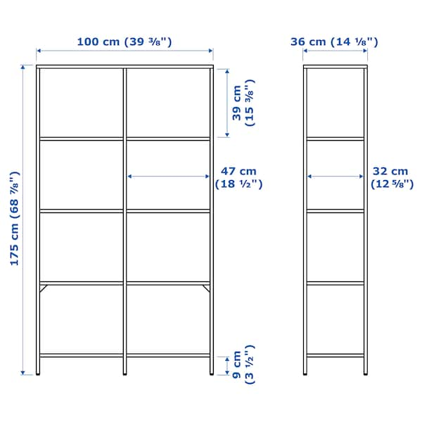 """VITTSJÖ Shelf unit, white/glass, 39 3/8x68 7/8 """""""