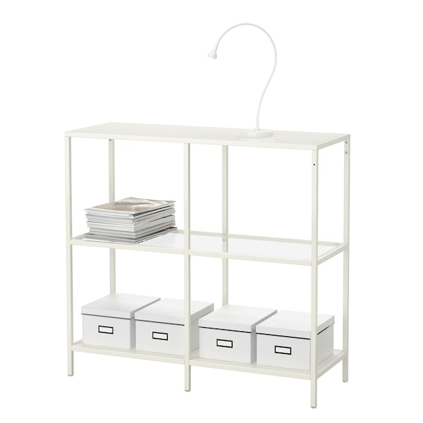 VITTSJÖ Shelf unit, white/glass, 39 3/8x36 5/8 ""