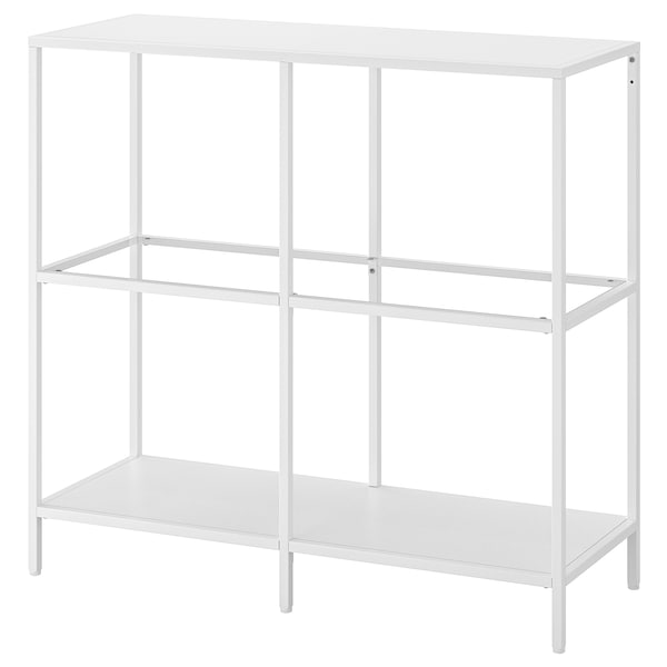 "VITTSJÖ shelf unit white/glass 66 lb 39 3/8 "" 14 1/8 "" 36 5/8 "" 33 lb"