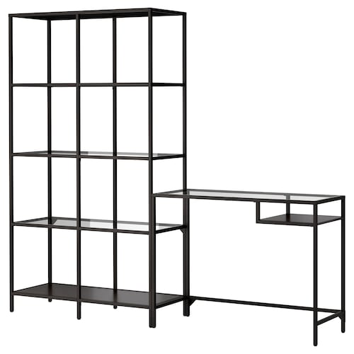 "VITTSJÖ shelving unit with laptop table black-brown/glass 78 3/4 "" 14 1/8 "" 29 1/8 "" 68 7/8 """