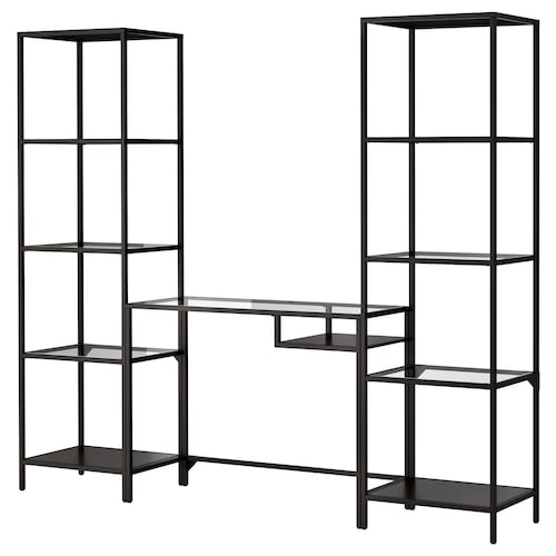 "VITTSJÖ shelving unit with laptop table black-brown/glass 79 1/2 "" 14 1/8 "" 29 1/8 "" 68 7/8 """
