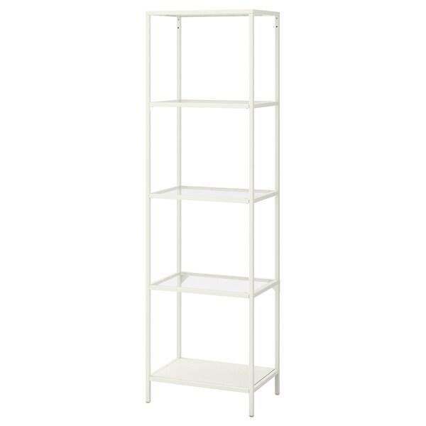 """VITTSJÖ shelf unit white/glass 20 1/8 """" 14 1/8 """" 68 7/8 """" 15 lb"""