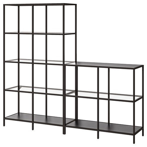 "VITTSJÖ storage combination black-brown/glass 78 3/4 "" 14 1/8 "" 68 7/8 """