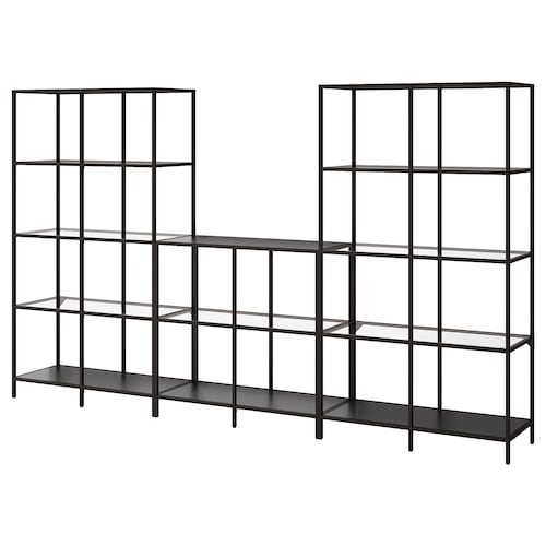 "VITTSJÖ storage combination black-brown/glass 118 1/8 "" 14 1/8 "" 68 7/8 """