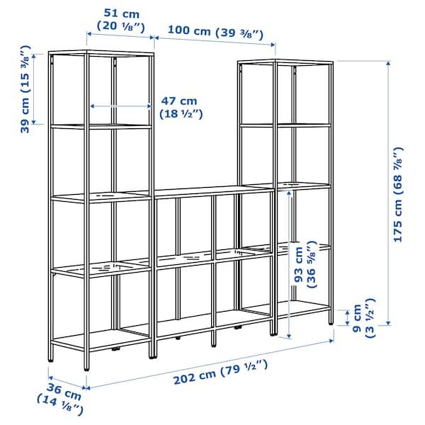 "VITTSJÖ Storage combination, black-brown/glass, 79 1/2x14 1/8x68 7/8 """