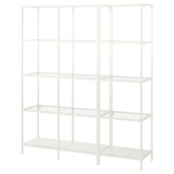 "VITTSJÖ Storage combination, white/glass, 59 1/2x14 1/8x68 7/8 """